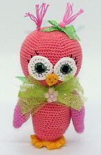"""4"""" Crochet Baby Owl, Wild Animal, Cute, Peach w/Pink Wings, Tulle Bow"""