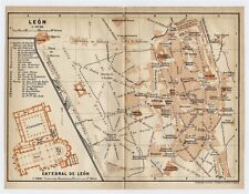 1913 ORIGINAL ANTIQUE CITY MAP OF LEON / SPAIN