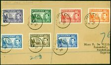 St Helena 1938 Set of 7 to 1s on 1st Day Part Cover to Capetown SG131-137 Fin