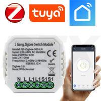 TUYA ZigBee Drahtlose 2-Stromkreis- Licht Schalter Modul Relais L&N erforderlich