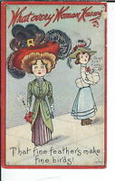 AX-023 - What Every Woman Knows, Feathers Birds Golden Age Postcard 1907-1915