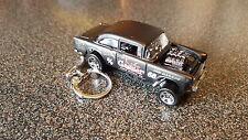 Diecast Chevrolet Chevy Bel Air Gasser Matt Black Toy Car Keyring Keychain
