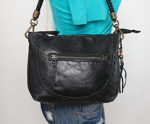 THE SAK Black Small Leather Shoulder Hobo Tote Satchel Purse Bag