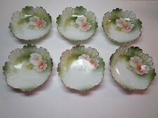 REINHOLD SCHLEGELMILCH - R.S. GERMANY  (6) Handpainted Berry Bowls w/Roses