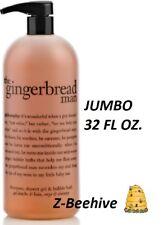 Philosophy THE GINGERBREAD MAN Shampoo Shower Gel Bubble Bath w/ pump JUMBO 32