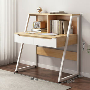 80cm Computer PC Desk Writing Table Home Office Workstation +Metal Legs Drawers