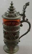 Antique Pewter Encased Colored Glass Stein