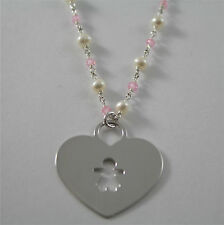925 RHODIUM SILVER NECKLACE WITH FW WHITE PEARLS AND HEART GIRL PENDANT 18.90 IN