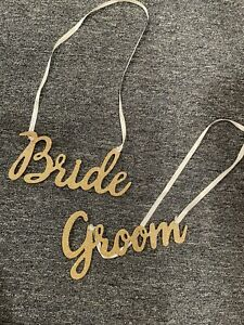 Gold Sparkle Bride And Groom Chair Signs