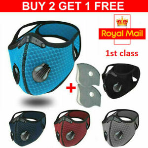 Buy 2 Get 1 Free 3x Face Masks Washable Mask 2 airvents PM2.5 reusable 2 valve #