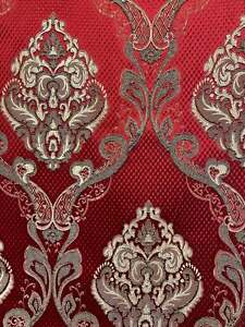 Damask Red Renaissance Jacquard Upholstery / drapery fabric by the yard