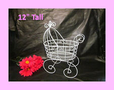 "12"" Wire Baby Carriage for Baby Shower Decorations or Centerpiece"