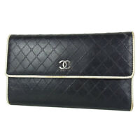 Auth CHANEL CC Coco Logos Bicolore Leather Treifold Long Wallet Purse 18166bkac