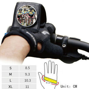 S/M/L/XL Pair Cycling Half Finger Gloves w/ Rearview Mirror Outdoor Bike Bicycle