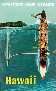 A3/A4 SIZE - HAWAII U.A.L VINTAGE TRAVEL WALL DECOR / GIFT ART POSTER # 3