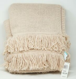 Whim by Martha Stewart Collection Acrylic Knit Fringe Throw Blanket - Petal Pink