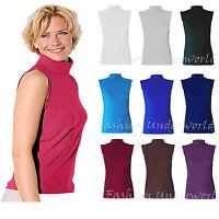 Womens Ladies Plain Polo Neck Sleeveless Stretch Turtle Jersey Basics Top 8-26