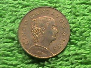 MEXICO 5 Centavos 1973 ROUND TOP 3 ALMOST UNC