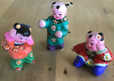 3 Jolly Colourful Hand Painted Japanese Figures