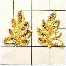 "XR293 Leaf Appliques Sequin Gold Mirror Pair Beaded Motif 2"" Set Of Two Leaves"