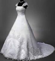 New White/Ivory Satin Corset Wedding Dress Bridal Gown Custom ALL Size 4-30++