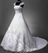 2018 New White/Ivory satin Lace-up Wedding Dress Bridal Gown Custom size 4-26++