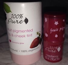 100% Pure Natural Fruit Pigmented Lip & Cheek Tint Blush *CRANBERRY GLOW* Sealed