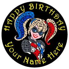 "DC SUPERHERO HARLEY QUINN - 7.5"" PERSONALISED ROUND EDIBLE ICING CAKE TOPPER"