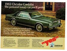 1982 CHRYSLER Cordoba 2-door Vintage Original Print AD - Green car photo canada