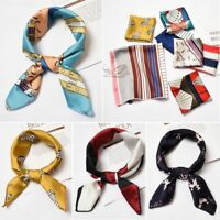 Women Gifts Elegant Hair Tie Band Square Scarf Silk Feel Satin Head Neck