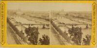 Parigi Panorama La Senna I Ponti c1870 Francia Foto Stereo Vintage Albumina