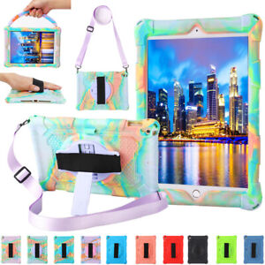 """For iPad 7th 8th Gen 10.2"""" Kids Shockproof Rubber Stand Case Cover With Strap"""