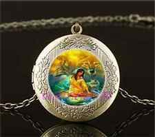 Vintage Woman with Wolf Photo Cabochon Glass Brass Locket Pendant Necklace