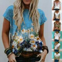 Women Solid Print Loose Short Sleeve Casual T Shirt V Neck Summer Tops Blouse