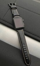 Quality Black Leather Watch Strap Band for Apple Watch 42mm Series 2 3 Black Fix