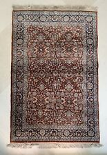 Exceptional Semi-antique Floral Silk Hand Knotted Oriental Area Rug 4'x6'