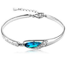 Womens Lady Silver Plated Crystal Bangle Charm Cuff Bracelet New Fashion Jewelry