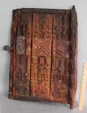 AntiqueAfrican Native Used, Carved Figures Exotic Wood Mali Grain Bin Door. NR