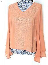 New Blush Pink Women's Long Flutter Sleeve Sheer Blouse Chiffon Shirt Party Top