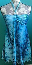 NWT Nicole MATERNITY Halterneck Swimsuit Tankini Top Blue Black Women's Sz S