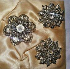 Vintage FLOWERS Prong Set Rhinestone TRIO Brooch 3 piece Set Pin
