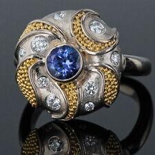 18K GOLD BEADED CORNFLOWER SAPPHIRE AND DIAMOND SWIRL RING .40 CARAT DIAMONDS