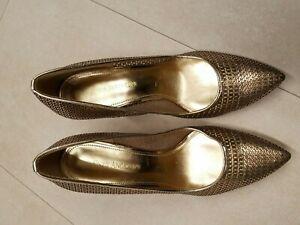 stunning Enzo Angiolini Gold/Black Dress women's shoes heels size 8.5