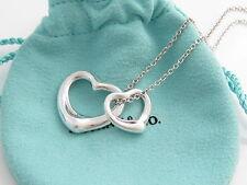 Tiffany & Co Silver Peretti Double Two 2 Open Heart Pendant Necklace Charm!