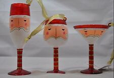NEW Glass Santa Glassware Christmas Ornament Martini Wine Flute Set of 3 No Box