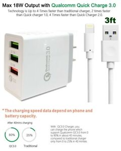 18W Fast Quick 3-USB Qualcomm Wall Charge For Apple iPad,Air,Mini + USB Cable