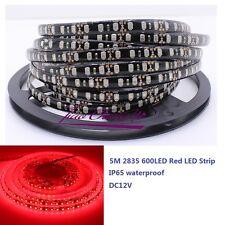 5M 2835 SMD 600Leds Red Flexible LED Strip DC12V Black PCB IP65 waterproof