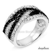 1.25 CT ROUND CUT BLACK CZ 925 STERLING SILVER WOMEN'S INFINITY FASHION RING