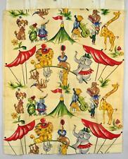 lot of 4 vintage barkcloth circus tent lion elephant turtle cat giraffe curtains