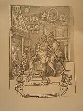 Planche gravure Religion Moyen age Le jeune homme et la vieille 1570